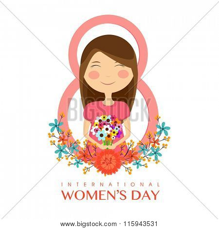 Cute girl holding colorful flowers in stylish text 8 for International Women's Day celebration.