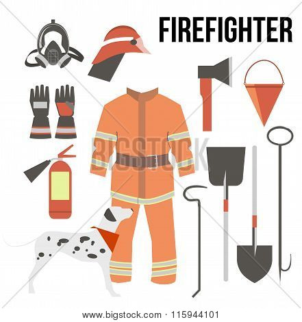 Fire-fighter Elements Set Collection. Firefighter Mask, Helmet, Axe, Gloves, Hose, Fire Extinguisher
