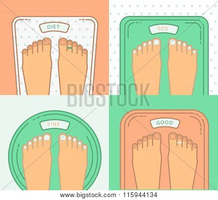 Bathroom Scales With Legs. Overweight Banner Design.