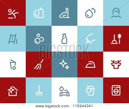 Cleaning service icons set. Flat style