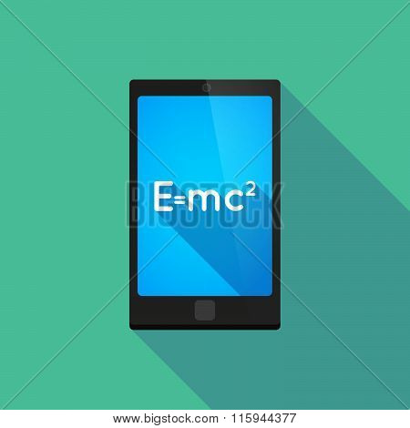 Long Shadow Phone Icon With  The Theory Of Relativity Formula