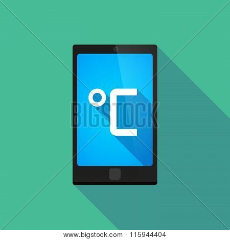 Long Shadow Phone Icon With   A Celsius Degree Sign
