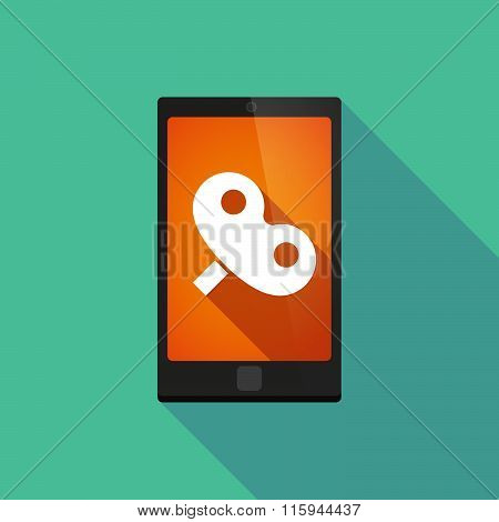 Long Shadow Phone Icon With  A Toy Crank
