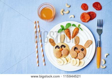 Pancake In The Form Of A Rabbit And Dried Apricots Cashew Carrots For Breakfast For Children