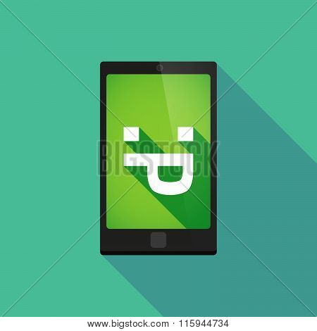 Long Shadow Phone Icon With  A Sticking Out Tongue Text Face