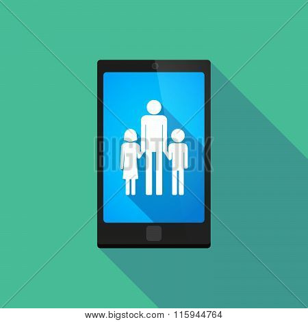 Long Shadow Phone Icon With  A Male Single Parent Family Pictogram