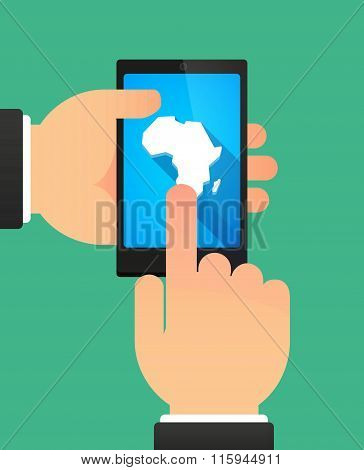 Hands Using A Phone Showing  A Map Of The African Continent