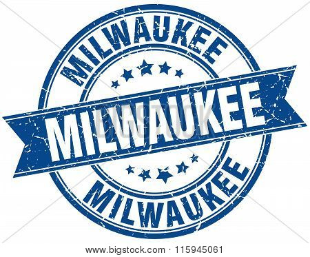 Milwaukee blue round grunge vintage ribbon stamp