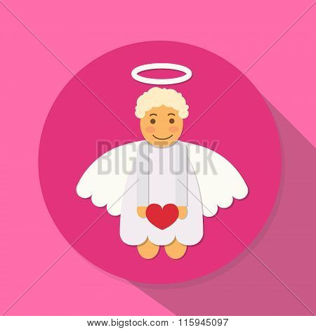Valentine's Angel Cupid Hold Heart Saint Valentine Holiday