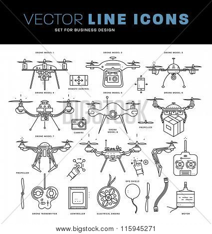 Set of Trendy Flat Style Line Icons. Collection of Aerial Drone Emblems and Icons with Camera, Propellers, Engine, Transmitter and Controller Pictogram. Remote Control with Mobile Phones.