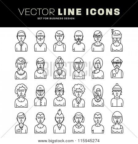 Set of People Avatars for Profile Page. Flat Style Line Icons for Social Network or Social Media Design. Man and Woman Characters Collection