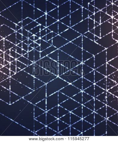 Futuristic shape of particles array. Digital Futuristic Concept for Abstract Design.