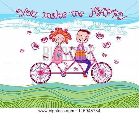 Couple Love Ride Tandem Bicycle Card Happiness