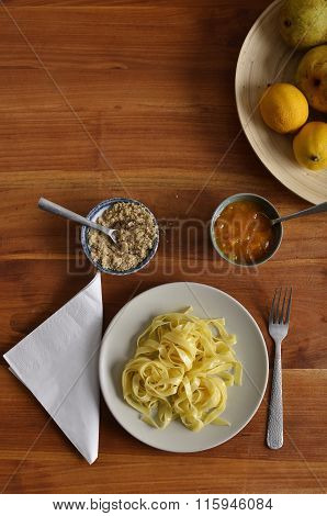 Walnut Noodles With Jam, Plan View