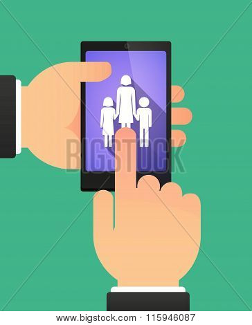 Hands Using A Phone Showing A Female Single Parent Family Pictogram