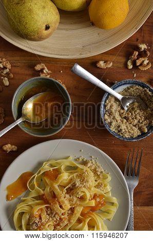 Walnut Noodles With Jam Portrait Close-up