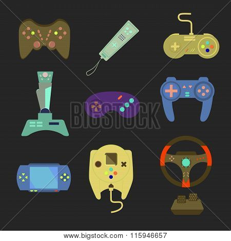 Game Joystick And Controller Set. Various Devices. Flat Vector Illustration Game Environment, Tools