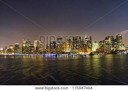 Financial District Cityscape Illuminated
