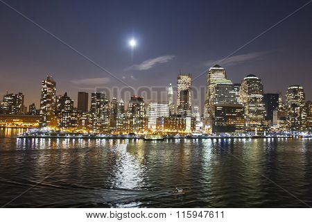 Financial District Illuminated At Night