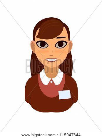 Vector illustration of reception or secretary girl