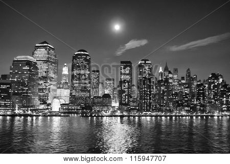 Financial District Skyscrapers At Night Bw