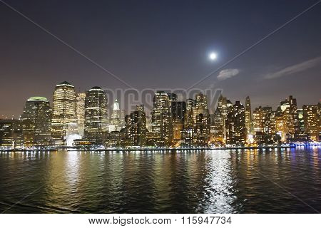 Financial District Waterfront At Night