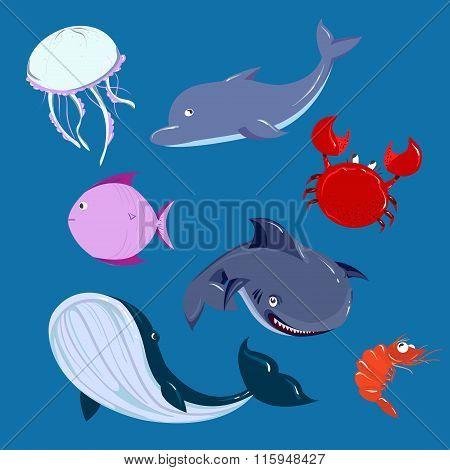 Cartoon Sea Animals Set. Vector Dolphine Whale Shark In The Sea