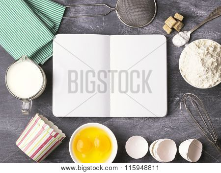 Baking Background With Blank Book, Eggs, Flour, Milk. Free Space For Text