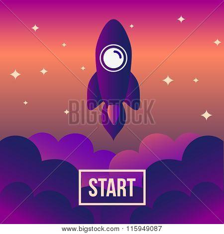 Rocket Space Vector Illustration. Start Up Concept.