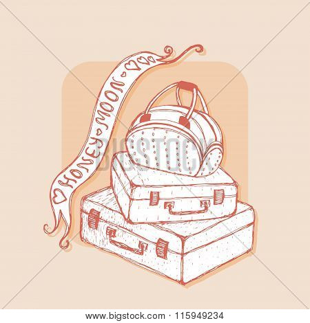 Suitcases and bag with ribbons. Honeymoon