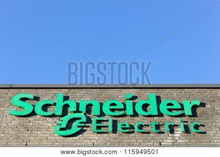 Schneider Electric logo on a facade