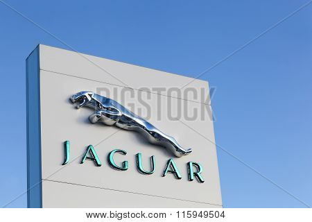 Jaguar logo on a facade