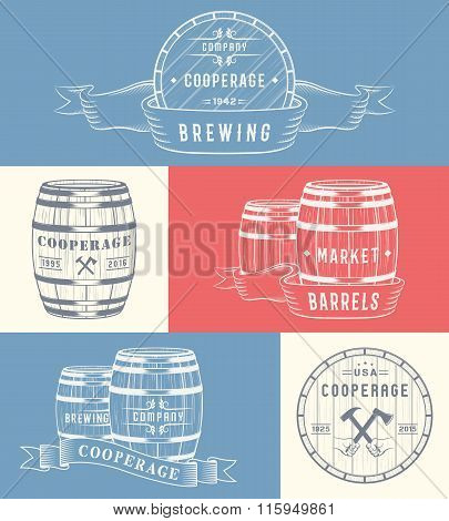 Set of wooden casks with alcohol drinks badges and cooperage logo. Collection of vintage logo template for beer house bar pub brewing company brewery tavern restaurant winery whiskey market.