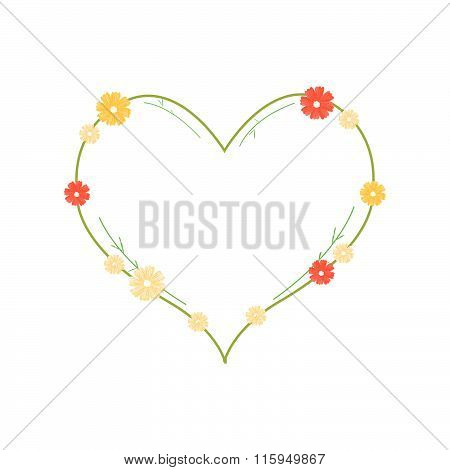 Yellow And Orange Cosmos Flowers In Heart Shape
