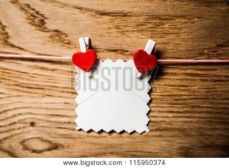 Love hearts on wooden texture background valentines day card concept