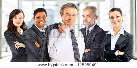Concept of teamwork and partnership with a group of businessperson
