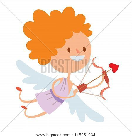 Valentine Day cupid angels cartoon style vector illustration