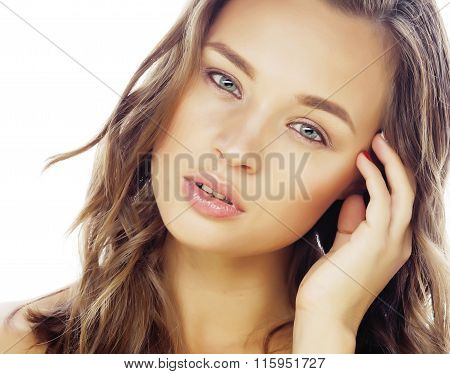 young sweet brunette woman close up isolated on white background, perfect pure innocense beautiful