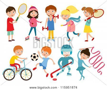 Young kids portsmens isolated on white vector illustration. Children sport. Roller, skates and gymnastics.  Vector kid gym, weights, dumbbells and running, Kids in sport, future winners after sport