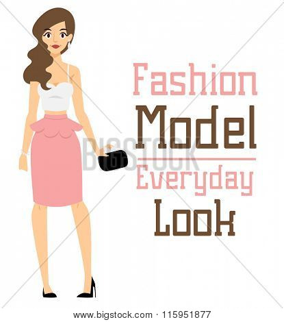 Beautiful vector cartoon fashion girl model constructor  look standing over white background. Cartoon fashion young nude woman. Modern beauty looks. Some modern everyday clothes icons