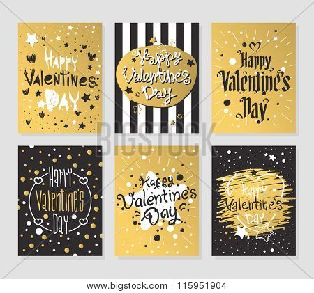 Happy Valentines Day gold and black greeting cards vector illustration. Valentine greeting card design. Valentine Day Layout design illustration. Love, romance. Red colors hearts and vintage