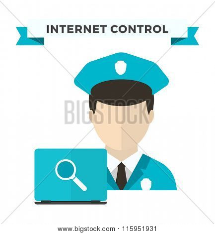 Internet security data privacy vector illustration. Internet security, internet traffic control. Internet security vector. Vector human silhouette isolated. Technology vector illustration. Web site