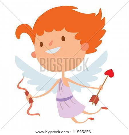 Valentine Day cupid angel cartoon style vector illustration. Amur cupid kid playing. Cupid cartoon kid vector illustration, Cute playfull Valentine  cupid angel isolated on white background
