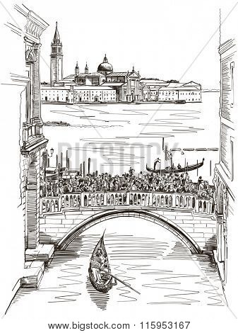 View from the Bridge of Sighs on San Giorgio Maggiore, Venice. Vector illustration.