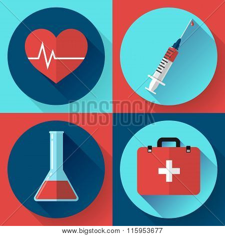Trendy medical icons with shadow. Flat design style