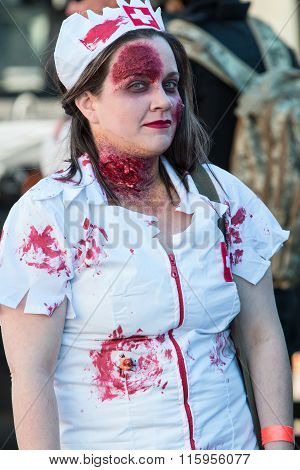 Woman Dresses As Bloody Nurse For Georgia Zombie Festival