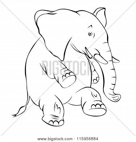 Illustration, Contour Of A Cheerful Elephant. The Elephant Costs On A Hind Leg And Smiles