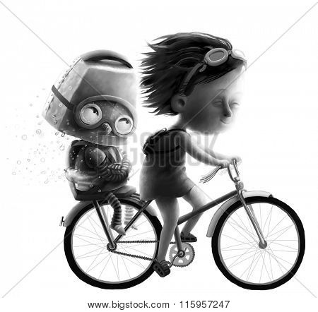 The black and white illustration of a girl and robot riding on bike