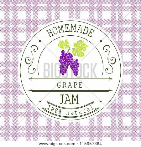 Jam Label Design Template. For Grape Dessert Product With Hand Drawn Sketched Fruit And Background.