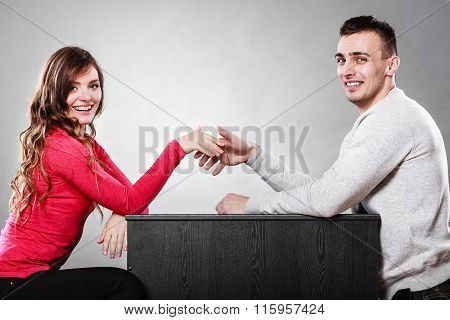 Man And Woman First Date. Handshake Greeting.